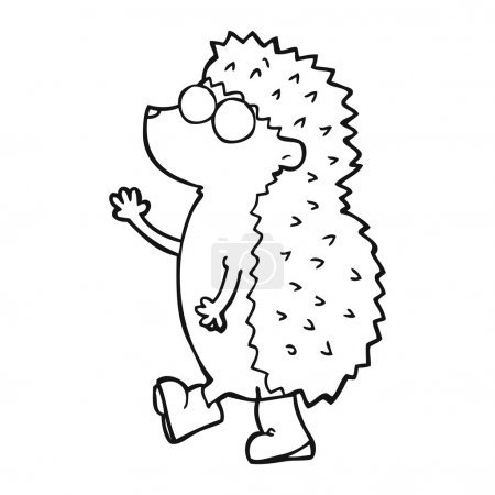 Cute freehand drawn black and white cartoon hedgeh...