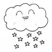 Od ruky kreslené nakreslené cloud, sněží