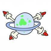 cartoon rockets leaving a planet