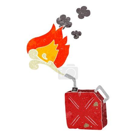 Retro cartoon fuel can with burning fuel spray