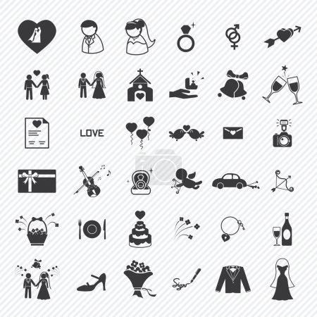 Illustration pour Ensemble d'icônes de mariage. illustration eps10 - image libre de droit