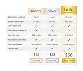 Pricing table with bronze silver and gold plan