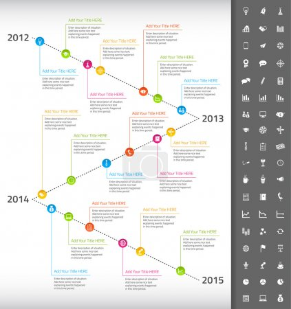 Illustration for Timeline with rainbow milestones and icons of events - Royalty Free Image