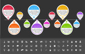 Timeline template in sticker style for startups with set of icons