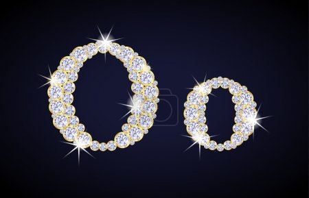 """Letter """"O"""" composed from diamonds with golden frame. Complete alphabet set."""