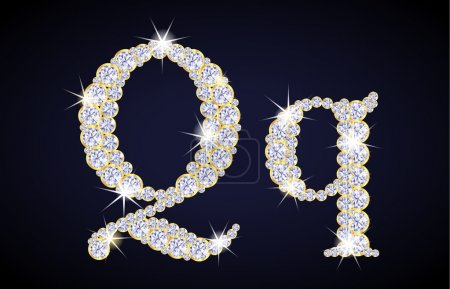 """Letter """"Q"""" composed from diamonds with golden frame. Complete alphabet set."""
