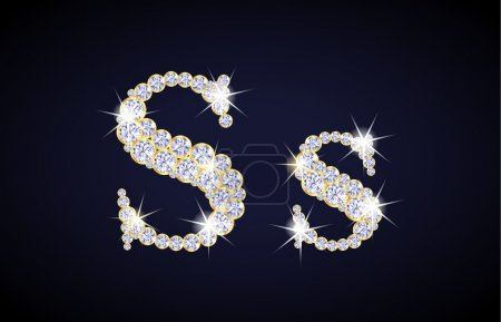 "Letter ""S"" composed from diamonds with golden frame. Complete alphabet set."