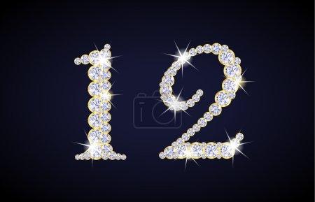 Illustration pour Numéro 1 et 2 composé de diamants avec cadre doré. Jeu alphanumérique complet en galerie - image libre de droit
