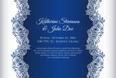 """Постер, картина, фотообои """"Романтические Свадебные приглашения с синим фоном и растительный орнамент как украшение"""""""