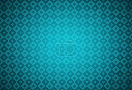 Minimalistic turquoise poker background with texture composed from card symbols