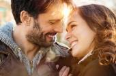 Loving couple outdoor smiling