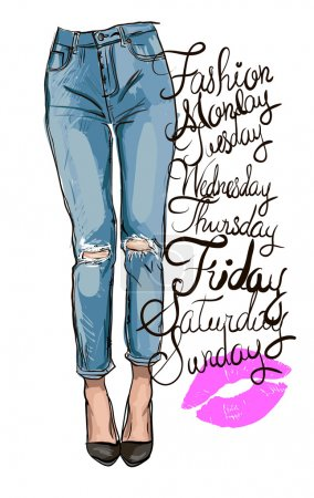 fashion illustration of femail legs in blue skinny jeans