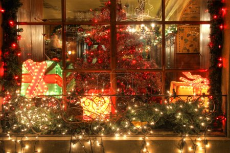 A window on a Christmas night