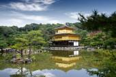 Kinkakuji chrám (Zlatý pavilon) v Kjótu, Japonsko