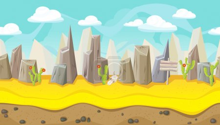 Seamless desert landscape with mountains for game design