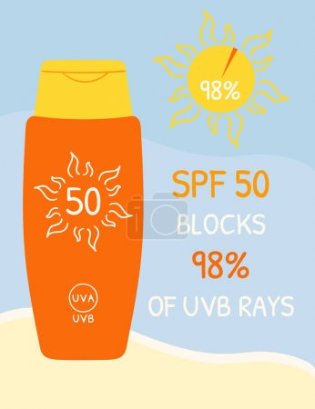 Illustration pour Bouteilles solaires SPF 50 qui bloquent les rayons UVB. Infographie de protection solaire sur fond de plage. Affiche été sécurité soleil. Illustration vectorielle organique dessinée à la main. - image libre de droit