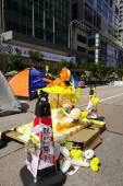 Hong Kong demokracie protestující bojují mimo jejich hlavním exec
