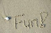 Zábava slovo napsané v písku