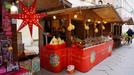 Vendors sell cheese and other quality Italian products at Bologn