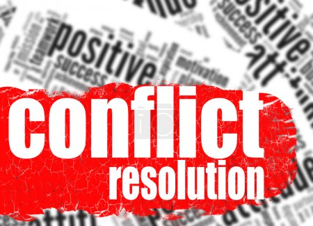 Photo for Word cloud conflict resolution image with hi-res rendered artwork that could be used for any graphic design. - Royalty Free Image