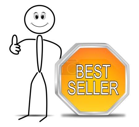 Photo pour Stickman avec orange Best-seller bouton 3d - illustration - image libre de droit