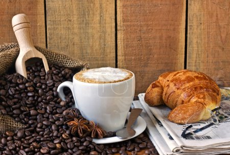 Photo for Cappuccino, brioches and newspaper with background - still life - Royalty Free Image