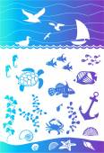 Seabed with marine inhabitants