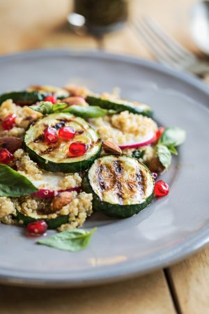 Quinoa with grilled courgette salad