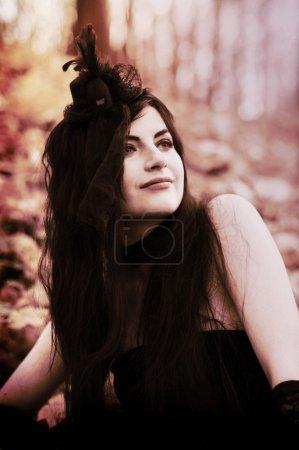 mademoiselle in Bois de Boulogne Paris, Violinist girl in little black dress, Sexual brunette