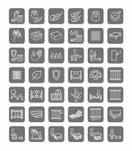 Mattresses, beds, linear icons, monochrome.