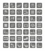 Matrace, postele, lineární ikony, černobílá
