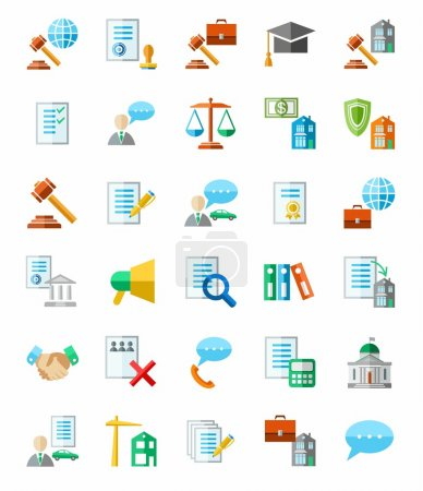 Illustration pour Des icônes plates et colorées, un avocat. Clip art vectoriel . - image libre de droit