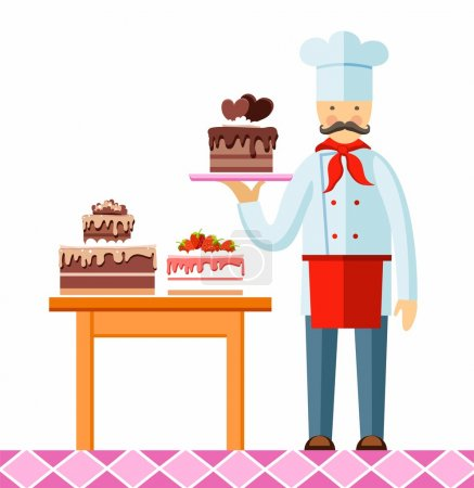 Pastry chef with cake, colored picture.