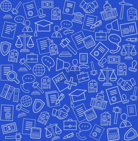 Illustration pour Icônes de ligne blanche des services juridiques sur un fond bleu. Fond sans couture vectoriel . - image libre de droit