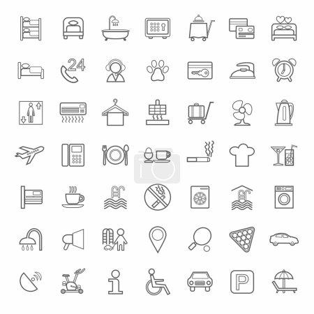 Illustration pour Vecteur, icônes monochromes des services hôteliers. Image linéaire grise sur fond blanc. Style plat . - image libre de droit