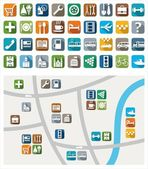 Colored flat icons with symbols of city services and attractions Their location on a map For printing and websites