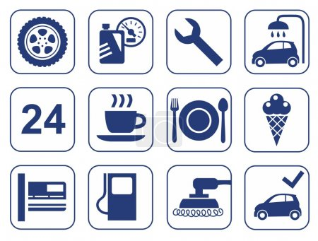 Car wash, auto repair, tire service, cafe, icons, monochrome, flat.