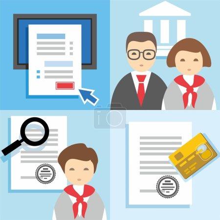 Illustration pour Illustrations colorées et plates, icônes avec des images de gestionnaires, banquiers, documents papier, questionnaires en ligne, carte en plastique. - image libre de droit
