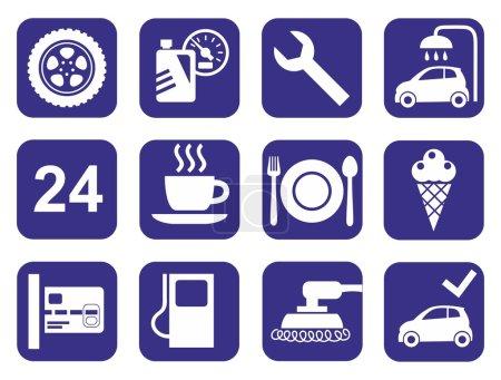 Icons car service, car wash, polishing, tire, cafes, monochrome, flat.