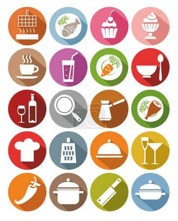 Icons, kitchen, restaurant, food, drinks, utensils, colored, flat.