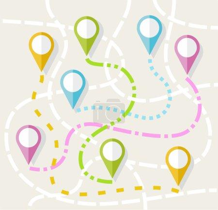Map, route, direction, path, navigation, color, flat.