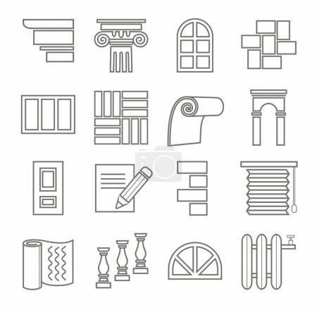 Icons, repairs, construction, building materials, line, outline, monochrome.