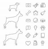 Icons zoo pet supplies contour black dogs age white background