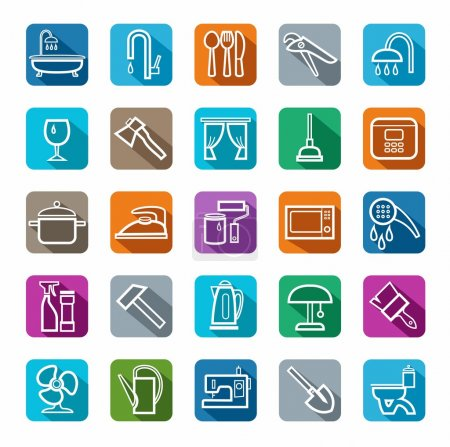 Icons, household goods, plumbing, appliances, colored background, shadow.