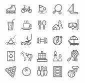 Contour line icons on the theme of leisure and entertainment Grey picture  on a white background