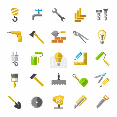 Construction and repair, color icons.