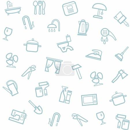 Illustration pour Modèle sans couture blanc vectoriel avec des icônes linéaires d'articles ménagers . - image libre de droit