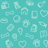 The goods for animals background seamless blue-green