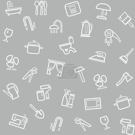 Illustration pour Modèle sans couture gris vectoriel avec des icônes linéaires d'articles ménagers . - image libre de droit