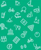 Vector seamless green background of linear icons to the theme of entertainment and recreation